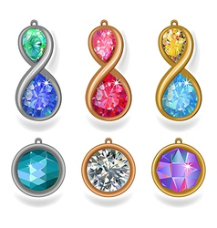 jewelry precious metal pendants and lavalieres vector image vector image