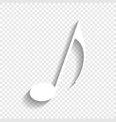 Music note sign white icon with soft vector