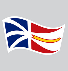 Newfoundland and labrador flag wavy gray backdrop vector