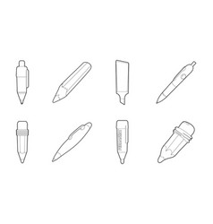 pen icon set outline style vector image