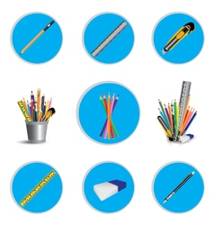 Pencil cutter and eraser with ruler for icon vector