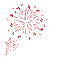 percent fireworks design on white background vector image vector image