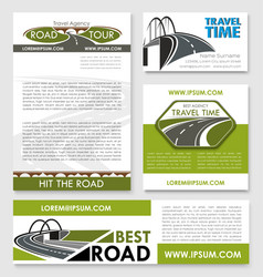 Road trip poster car travel banner template set vector