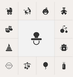 set of 13 editable baby icons includes symbols vector image