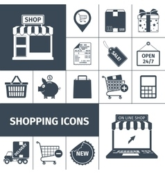 Shopping black white icons set vector image vector image
