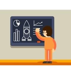 Start up plan on chalkboard vector image