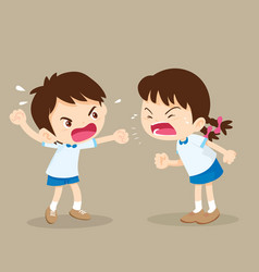 student boy and girl are quarreling vector image