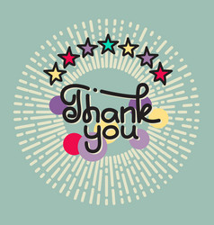 thank you lettering with stars on gray background vector image vector image