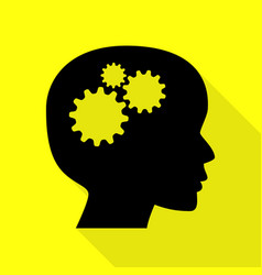 thinking head sign black icon with flat style vector image