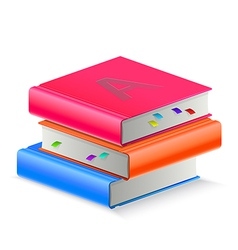 Three book with bookmark vector