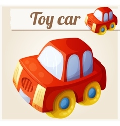 Toy red car cartoon vector