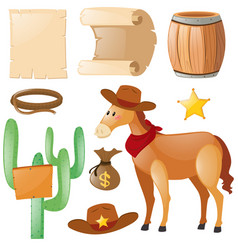 Western theme with horse and cactus vector