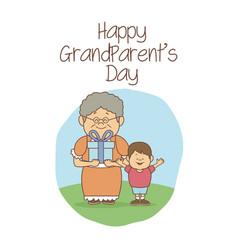 White background with scene grandma happiness vector