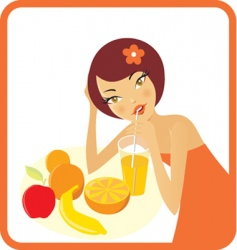 woman with fruits and juice vector image