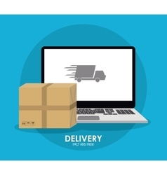 Package and laptop icon delivery and shipping vector
