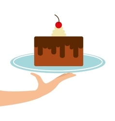 Hand holding a tray of cake vector
