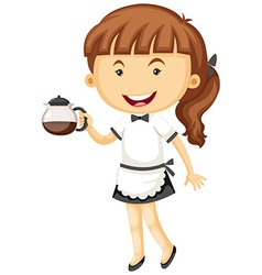 Waitress serving pot of tea vector image