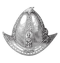 Cabaset peaked helmet engraving vector image