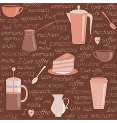 Seamless pattern with coffee related elements vector image