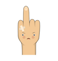 cartoon middle finger vector image