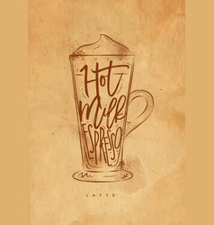 Coffee latte cup craft vector