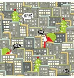 Christmas city seamless pattern vector image