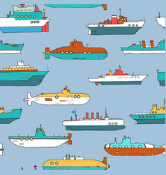 Seamless pattern with submarines and ships vector