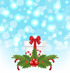 Christmas gift box with holiday decoration vector