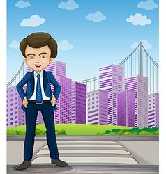 A handsome businessman standing at the pedestrian vector image