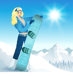 Girl with a snowboard vector
