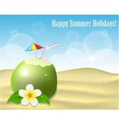 Summer background with coconut on the sand vector