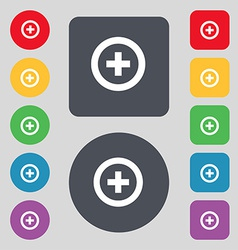 Plus positive icon sign a set of 12 colored vector