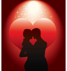 Sexy couple silhouette with re vector