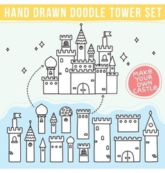 Hand drawn doodle tower set vector