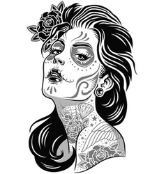 Day of dead girl black and white vector