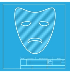 Tragedy theatrical masks white section of icon on vector
