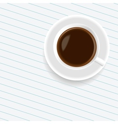 A cup of coffee on the sheet of paper vector image vector image