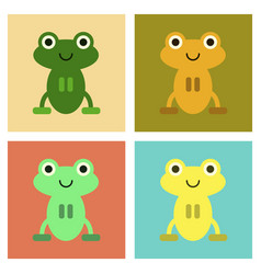 Assembly flat icons cute frog cartoon vector