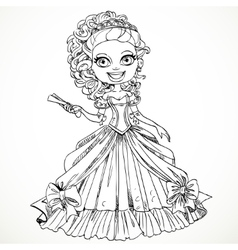 Beautiful princess in a ball dress with a fan in vector