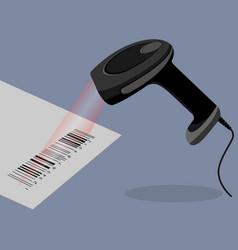 black handheld barcode scanner scanning bar code vector image