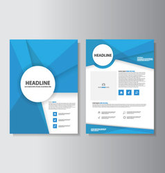 Blue abstract brochure flyer leaflet templates set vector
