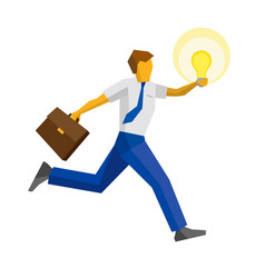 businessman running with the lamp vector image vector image