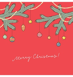 christmas card red vector image vector image