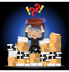 Confused businessman sitting on pile of documents vector
