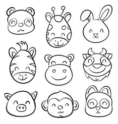 Cute animal hand draw doodle collection vector