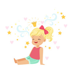Cute blonde little girl sitting and dreaming about vector