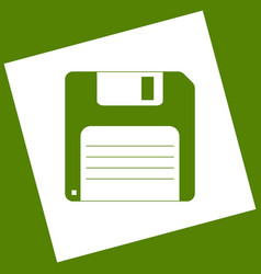 Floppy disk sign white icon obtained as a vector