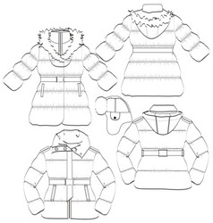 Girls winter coat and jacket vector image vector image