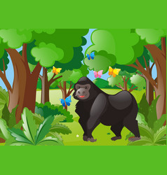 gorilla and butterflies in the forest vector image