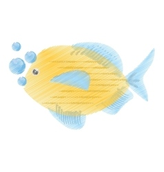 Hand drawing blue and yellow fish variety ocean vector